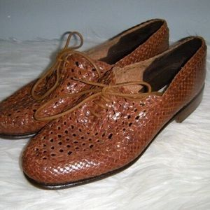 Brown Woven Leather Loafers Rangoni Firenze Italy